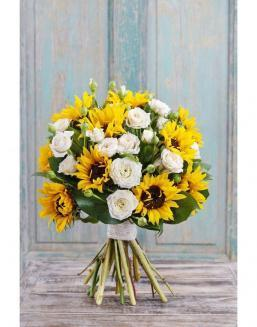 Bouquet of white roses and sunflowers | Sunflowers