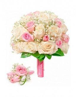 Bouquet of roses: cream and pink | Delivery and order flowers in Aktobe