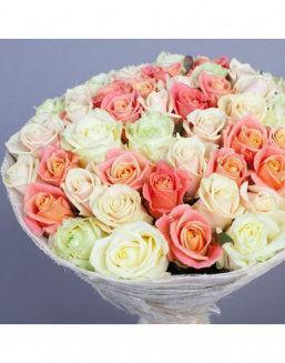 Gift Grace set of cream and carrot roses | Roses to mother expensive flowers