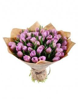 Bouquet of 51 violet tulips | Delivery and order flowers in Aktobe