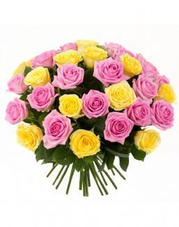 Bouquet mix of 33 pink and yellow roses | Delivery and order flowers in Aktobe