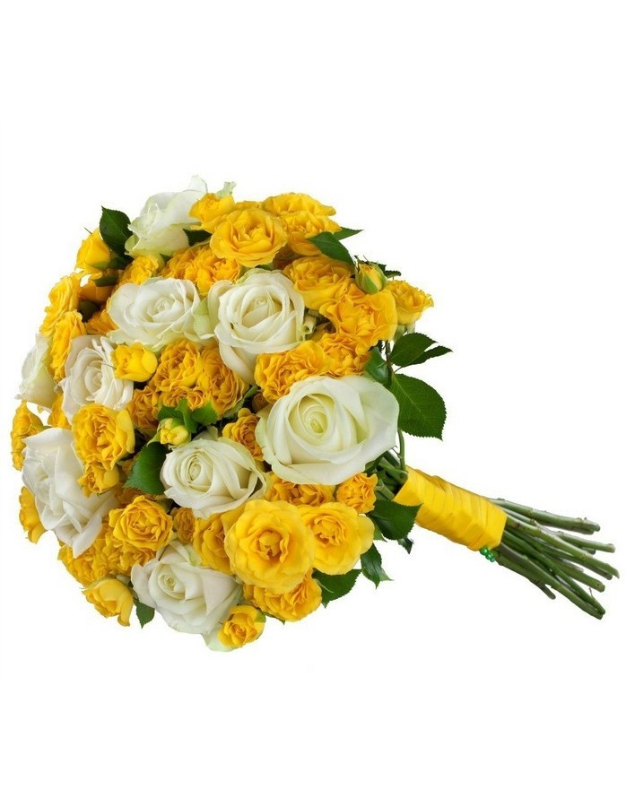 Mix bouquet of 25 white/yellow spray roses